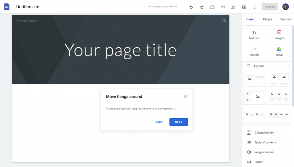 customise your site using drag and drop