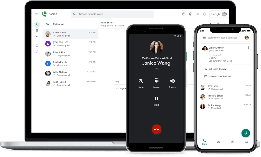 Google Voice interfaces
