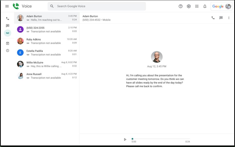google Voice voicemail AI
