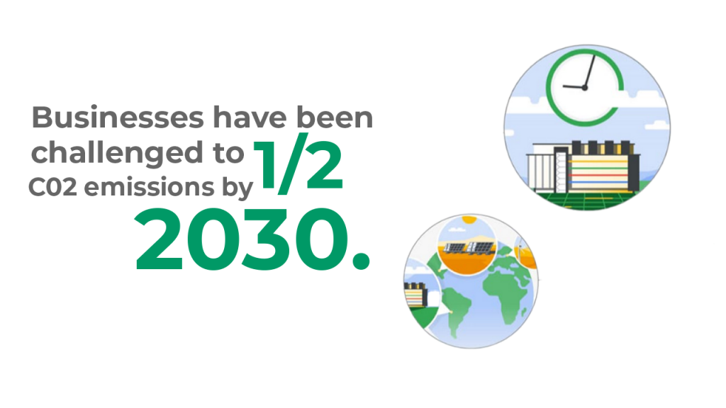 Businesses have been challenged to half CO2 emissions by 2030.
